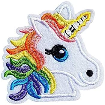 Iron on embroidered applique or two 4in. pony unicorn-one 5x7in