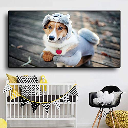 QZROOM Divertido Disfraz de Cachorro, Carteles e Impresiones para Perros, Pintura de Animales, Minimalista, escandinavo, nrdico, Cuadro de Pared para Sala de Estar, nios, 60x120 cm
