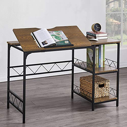Hombazaar Home Office Desk, Industrial Computer Desk with Storage Shelf, Large Writing Drawing Desk Craft Workstation with Tiltable Tabletop for Artist, 47'' Multifunctional PC Laptop Table, Brown