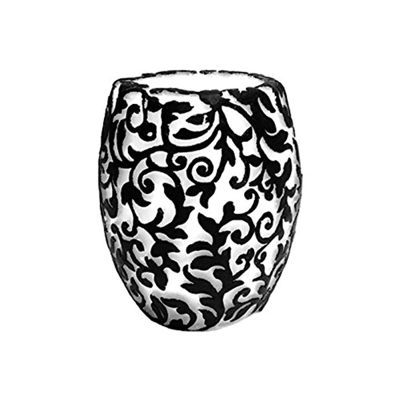 アパート揮発性決済スワールリーフ Vase (Ivory×Black/サンダルウッド(白檀))