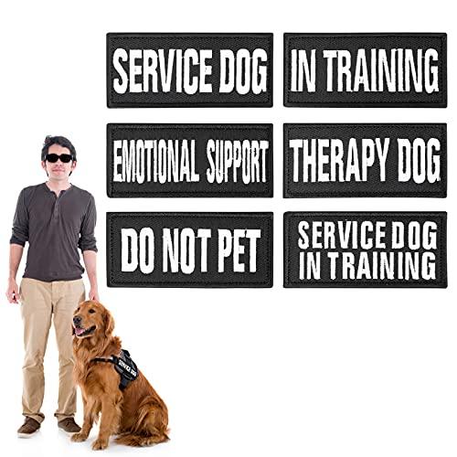 Molain Bestickte Hundewesten-Patches mit Haken und Schlaufe, abnehmbar, taktischer schwarzer Klettverschluss, für Hundegeschirr, Diensthundeabzeichen beim Training