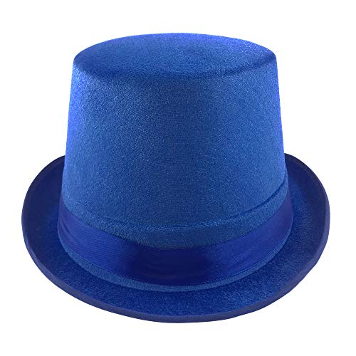 Carnavalife, Sombrero Chistera, Sombrero de Copa, de Fieltro Satén, Sombrero Mago con Cinta de Raso para Carnaval, Halloween, Fiestas, etc (Azul,Adulto)