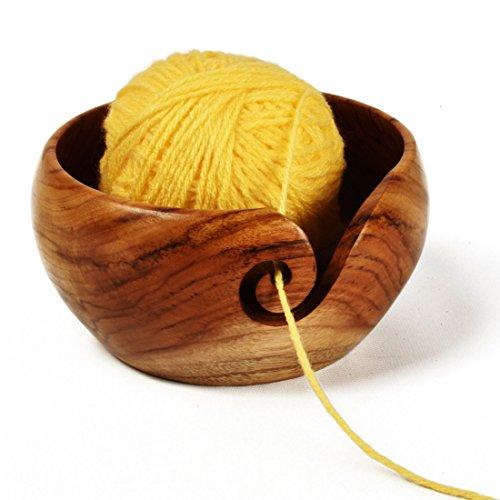 "Stitch Happy Yarn Bowl Handmade Teak Wooden with Elegant Design - 6"" x 3"""