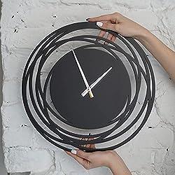 Black Wall Clock Silent Non Ticking - Modern Wall Clock - Rustic Wall Clock - Kitchen Clocks - Bathroom Clock - Living Room Clocks - Decorative Wall Clocks (Black, 15 inches)