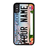 BleuReign Personalized Custom Name 2016 Georgia State License Plate Rubber Phone Case Back Cover for Apple iPhone X Xs Ten