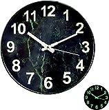 Leuchtende Wanduhr, 12 Zoll Metall Große Wanduhr Ohne Tickgeräusche, Wanduhr Modern, Nachtlicht Wanduhren Vintage Deko Zuhause Uhr Wand für Büro, Küche, Wohnzimmer, Schlafzimmer, Batteriebetrieben