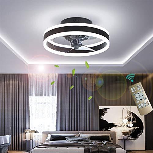 Deckenventilator Mit Beleuchtung, Fernbedienung Leise Moderne Led Mit Licht Wohnzimmer Ventilator Deckenleuchte Ventilatorlicht für Wohnzimmer, Schlafzimmer Kinderzimmer Esszimmer ( Farbe : Schwarz )