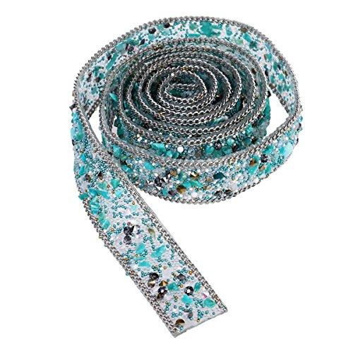 ROSENICE 1 Meter Strassband Crystal Strass und Perle Perlen Applique Lace Trim Bling Ribbon Nähen auf Trim für Kleid Sash Gürtel DIY Hüte Taschen Schuhe Verzierungen (hellgrün)