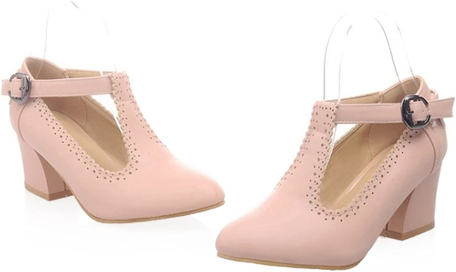 Small Pointed Buckle Thick Heel Thin shoes pink 39