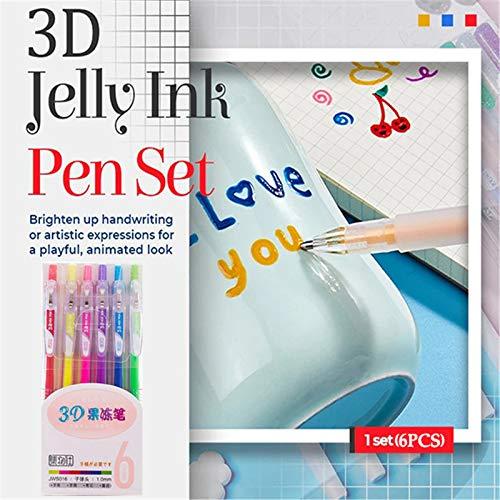 XTBL 3D Glossy Jelly Pen Set Glitzerstift Gel Pen Marker 6 Farben DIY 3D Malstift für Kinder Malen, Metallic Marker Pen für Album Card Scrapbooks Schreiben Zeichnen Doodles