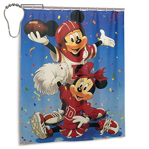Mickey Minnie Cartoon Maus Der Duschvorhang ist hell, hochtemperaturwiderstandsfähig & nicht verformbar, wasserdichtes Polyestergewebe für Haushalt Badewanne Dekoration, 152,4 x 182,9 cm Eisen