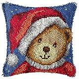 Ylkgogo - Kit di ganci per cuscino fai da te, con ricamo di Natale, decorazione a pelo lungo, idea regalo per la famiglia e attività Orsacchiotto