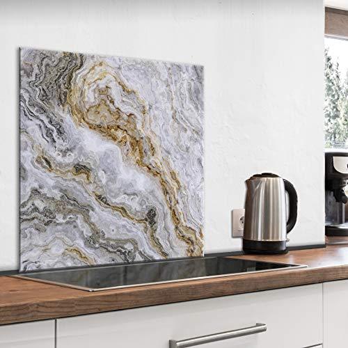 murando Spritzschutz Glas für Küche 60x60 cm Küchenrückwand Küchenspritzschutz Fliesenschutz Glasbild Dekoglas Küchenspiegel Glasrückwand Marmoroptik - f-B-0281-aq-a