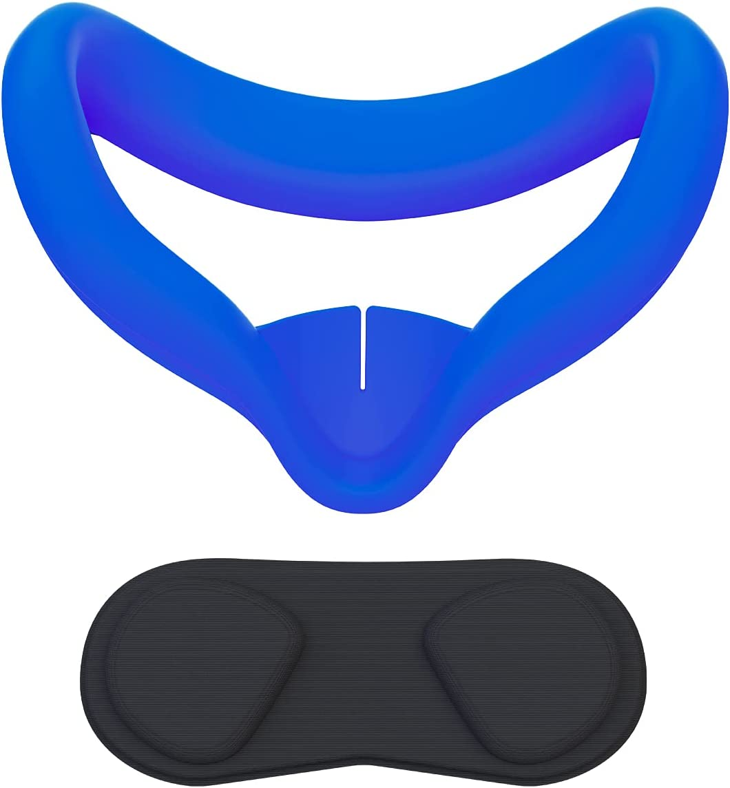 VR Face Cover and Lens Cover for Oculus Quest 2, Sweatproof Silicone Face Pad Mask & Face Cushion for Oculus Quest 2 VR Headset (Blue)