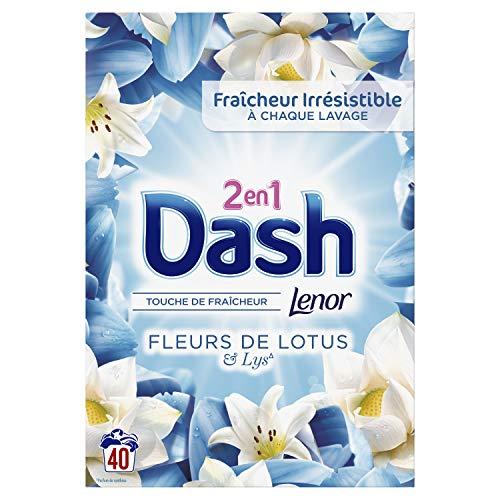 Dash 2En1 Lessive Poudre, Parfum de Fleur de Lotus & Lys, 80 Lavages (2 x 2,6kg), Fraîcheur Longue Durée et Élimine les Taches
