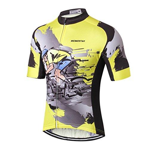 Weimostar Herren-Fahrradtrikot, Mountainbike-Trikot für Herren - Grau - Etikett L /Brust 95/100 cm