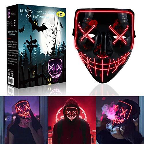ZOOI Halloween LED Maske - Purge Maske LED mit 3 Blitzmodi, Halloween Deko Gruselige Maske, Halloween Kostüm Damen Herren Erwachsene für Halloween Fasching Karneval Cosplay Party Dekoration (rot)