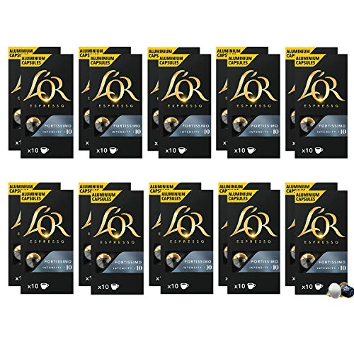 L'Or Espresso Café Fortissimo Intensidad 10 - 200 cápsulas de aluminio compatibles con...