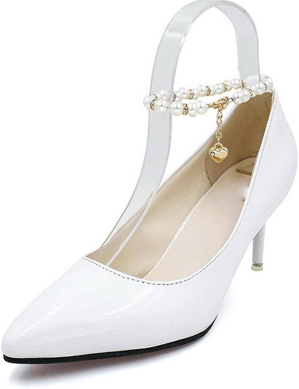 BalaMasa Womens Beaded Metal Buckles Spikes Stilettos Urethane Pumps shoes