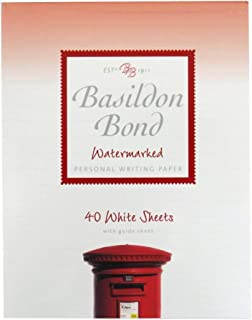 Basildon Bond Writing Notepad - White Sheets - Watermarked - 40 Sheets=80 Pages - Size 7 X 5.4