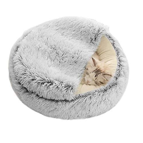 You\'s Auto Waschbares Flauschi Katzenhöhle Tierbett große Kuschelhöhle für Hund, Katze & Haustier (grau)