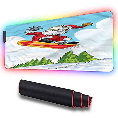 Gaming-Mauspad, Weihnachtsmann, Sprung auf Snowboard-Kiefern, dicke, erweiterte Computertastatur-Led-Mausmatte, rutschfeste Basis, haltbare, genähte Kanten, ideal für Schreibtischabdeckungen,