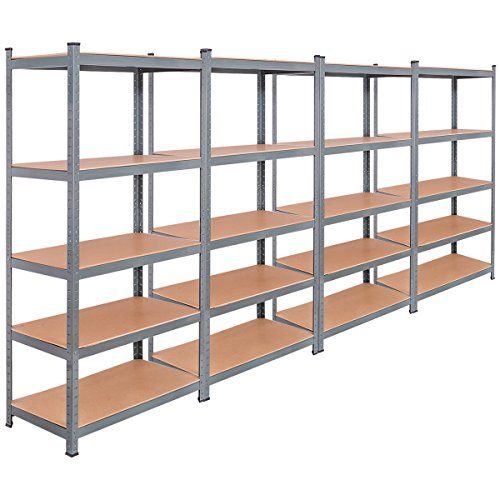 Tangkula 5-Tier Storage Shelves Space-Saving Storage Rack Heavy Duty Steel Frame Organizer High Weight Capacity Multi-Use Shelving Unit for Home Office Dormitory Garage with Adjustable Shelves (4 PCS)