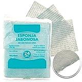PimPam Factory - Pack de 120 Esponjas Jabonosas Desechables para Bebes, Niños y Adultos   Fabricadas en España   Esponjas de Baño para un solo Uso de 12X20 cm   No Irrita y Suaviza la Piel