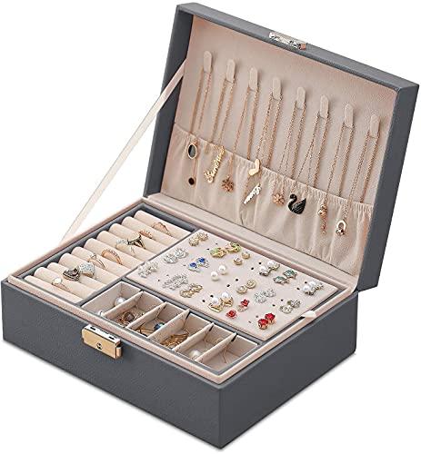 Archile Joyery Box Organizer Pequeño viaje Joyería de viaje Caja de almacenamiento, organizador de joyas de 2 capas con bloqueo y bandeja extraíble para anillos Pendientes Collar Pulseras Pulseras Fau