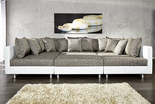 Großes Design Sofa LOFT XXL weiß grau Strukturstoff inklusive Hocker - 4