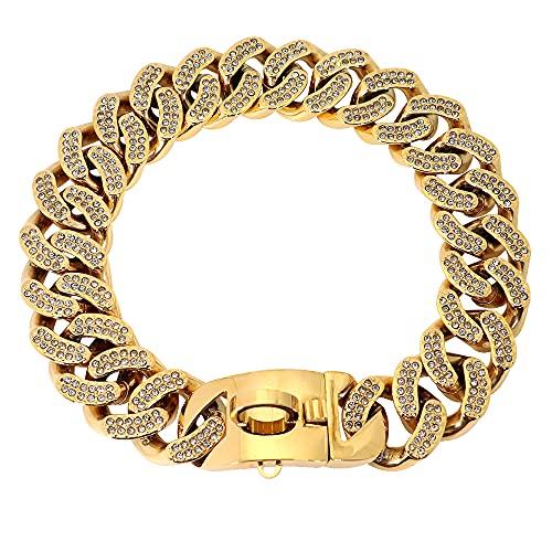 WWHPVP Collar De Perro De Metal, Cadena De Acero Inoxidable Collar De Martingale Collar De Perros para Perro Medio Large Doberman,Oro,55cm