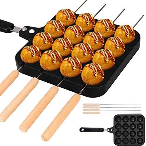 16 plaque de poulpe-plaque de cuisson Takoyaki, trous plaque de cuisson Takoyaki, plaque de cuisson antiadhésive outil de moule de cuisson pour boule de poulpe 4 aiguilles de cuisson gratuitement