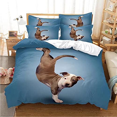 Set biancheria da letto per ragazzi 3 pezzi in morbida microfibra traspirante 3D cane che balla Copripiumini,copripiumino 1 volta con cerniera-220x240cm + 2 federe 80x80 cm