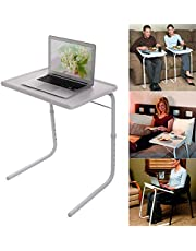 Foldable Assembled Table TV Tray Portable Folding Snack Table - Adjustable Sofa Side Table, Bed Laptop Desk Table for Breakfast Home Use White