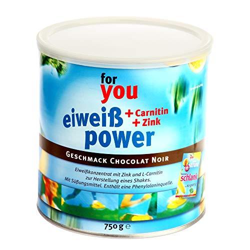 for you Power Eiweiß nach Strunz I Eiweißpulver Chocolate Noir 750g I Eiweisspulver mit Carnitin Whey-Protein Sojaprotein Milchprotein I Biologische Wertigkeit 156 I Mehrkomponenten Pulver