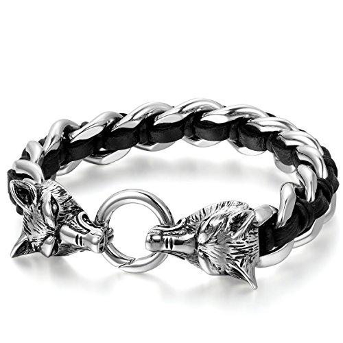 JewelryWe Schmuck Herren Armband, Gotik Wolf Kopf Geflochten Panzerkette Armreif, Echtleder Leder Edelstahl, Schwarz Silber
