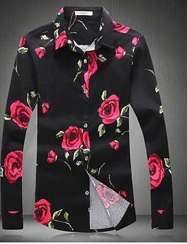 HAN-NMC Men's Casual/Daily Printemps Automne Simple,Chemise à Manches Longues col Classique Floral Léger Coton,5XL,Black