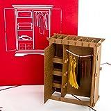 POP UP 3D Karte 'Kleiderschrank' – lustige 3D Geburtstagskarte & Glückwunschkarte als Gutschein, Geldgeschenk, Geschenkverpackung, Shopping-Gutschein & Einkaufsgutschein zum Shoppen