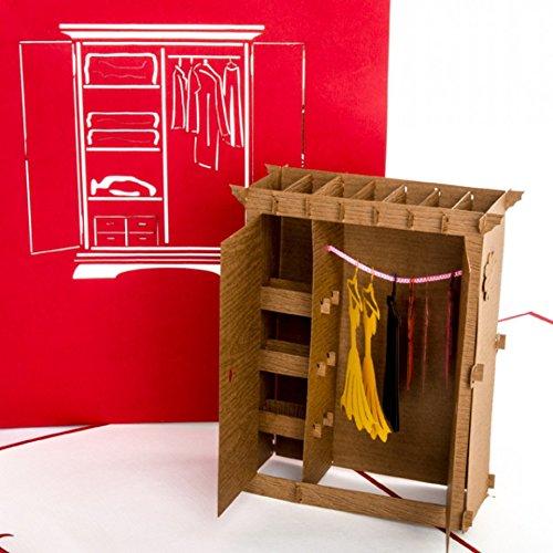 """POP UP 3D karta """"Szafa na ubrania"""" – zabawna kartka urodzinowa 3D i kartka z życzeniami jako bon, prezent pieniężny, opakowanie prezentowe, bon na zakupy i bon na zakupy"""