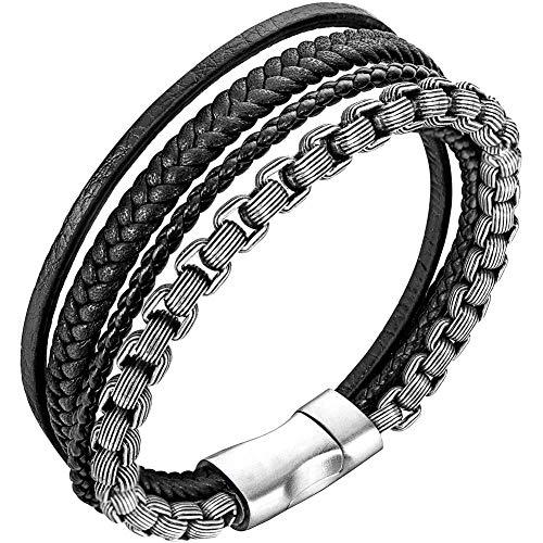 Armband Herren Lederarmband für Männer Edelstahl Armband(silber,schwarz21,5cm)