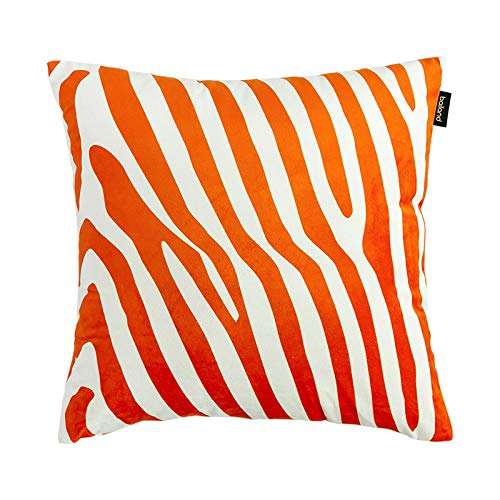Cushion Covers Throw Pillow Cover American Velvet Zebra Pattern Sofa Bedroom Living Room Decoration Square Pillowcase 50cm x 50cm(20x20 Inch) Without Core Orange