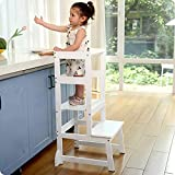 adjustable height kitchen step stool for toddlers, kids learning stool, baby standing tower for
