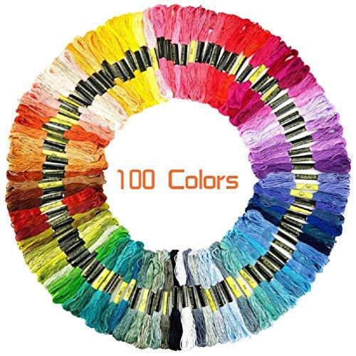 YEFAF Stickgarn, 100 Verschiedenfarbige Stickgarn Sticktwist Embroidery Floss Multifarben Weicher Polyester 8m Perfekt für Freundschaftsbänder, Stickerei, Arts Kreuzstich