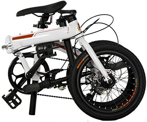 Bicicleta plegable de 16 en 7 marchas, freno de disco de aluminio, para adultos y adolescentes