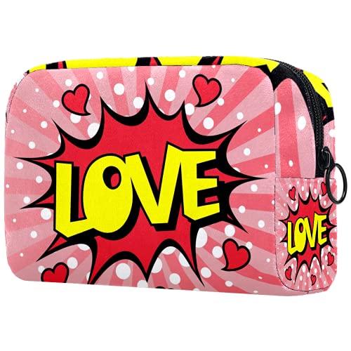 Bolso cosmético portátil de las señoras, bolso de almacenamiento multifuncional,Discurso burbuja amor dibujos animados explosión caer en amor