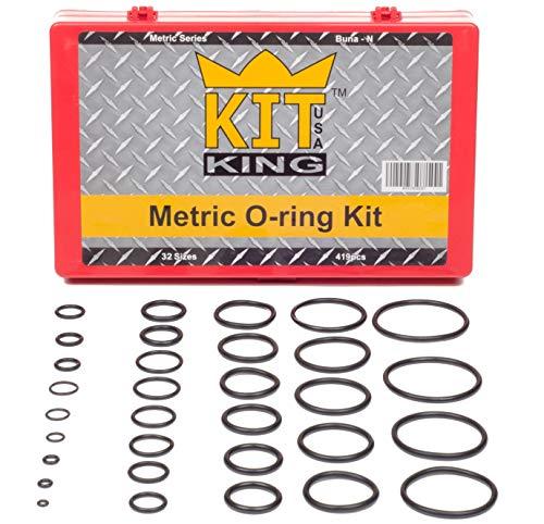 419PCS Metric O-Ring Kit, 419 Orings in 32 Universal Sizes, Buna-N Rubber 70A Durometer, mm, Automotive Car Vehicle Plumbing Gasket Set Faucet Repair Stop Leaks Assortment