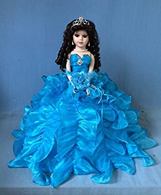 """Jmisa 18"""" Umbrella Porcelain Dolls TURQUIES Quince Anos Lilac Turquoise"""
