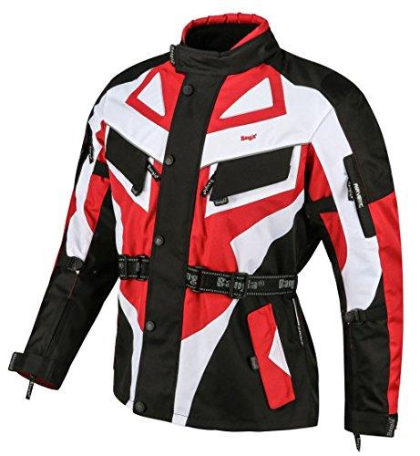Bangla 1535 Kinder Motorradjacke Roller Motorrad Textil Cordura 600 Rot Schwarz Weiss 128