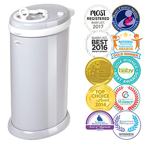 Ubbi Steel Odor Locking, No Special Bag Required Money Saving, Awards-Winning, Modern Design Registry Must-Have Diaper Pail, Gray