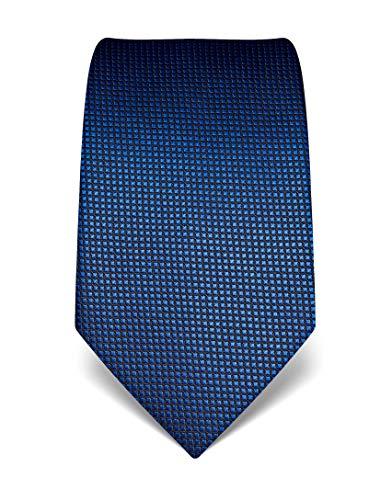 Vincenzo Boretti Herren Krawatte reine Seide Karo Muster kariert edel Männer-Design zum Hemd mit Anzug für Business Hochzeit 8 cm schmal/breit blau